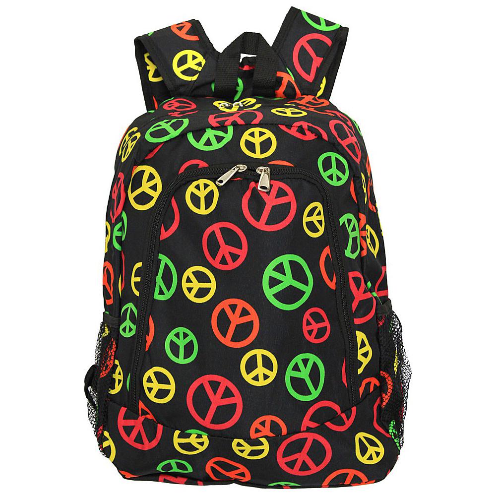 World Traveler Peace Sign 16 Multipurpose Backpack Multi Peace Sign - World Traveler Everyday Backpacks - Backpacks, Everyday Backpacks