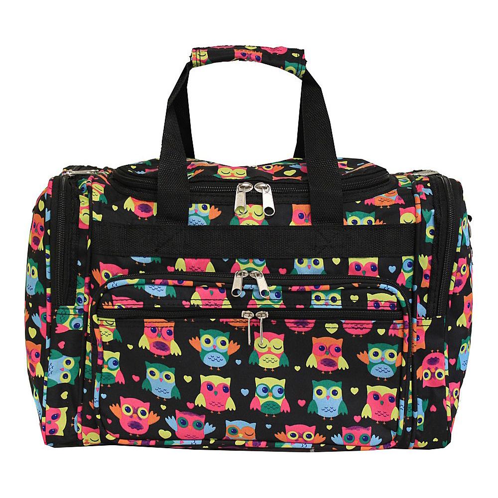 "World Traveler Owl 16"" Shoulder Duffle Bag Owl Black - World Traveler Rolling Duffels"