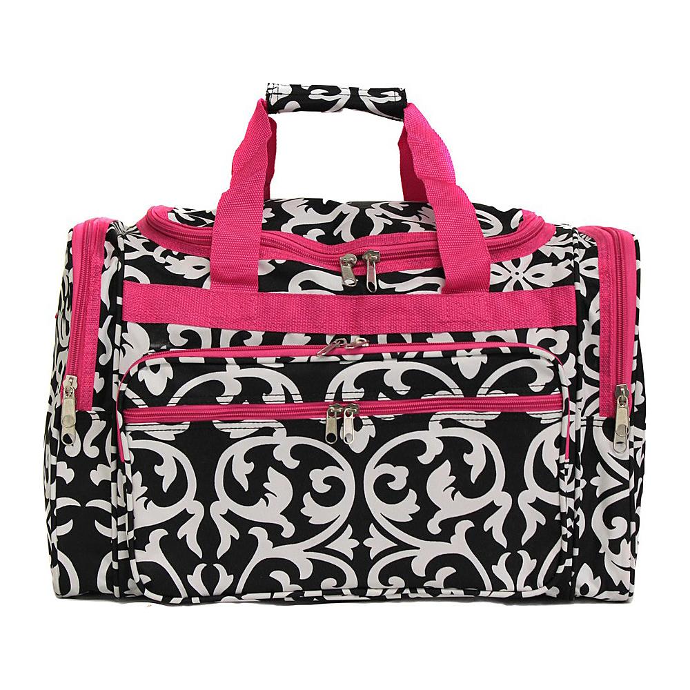 World Traveler Damask 19 Shoulder Duffle Bag Pink Trim Damask - World Traveler Rolling Duffels - Luggage, Rolling Duffels