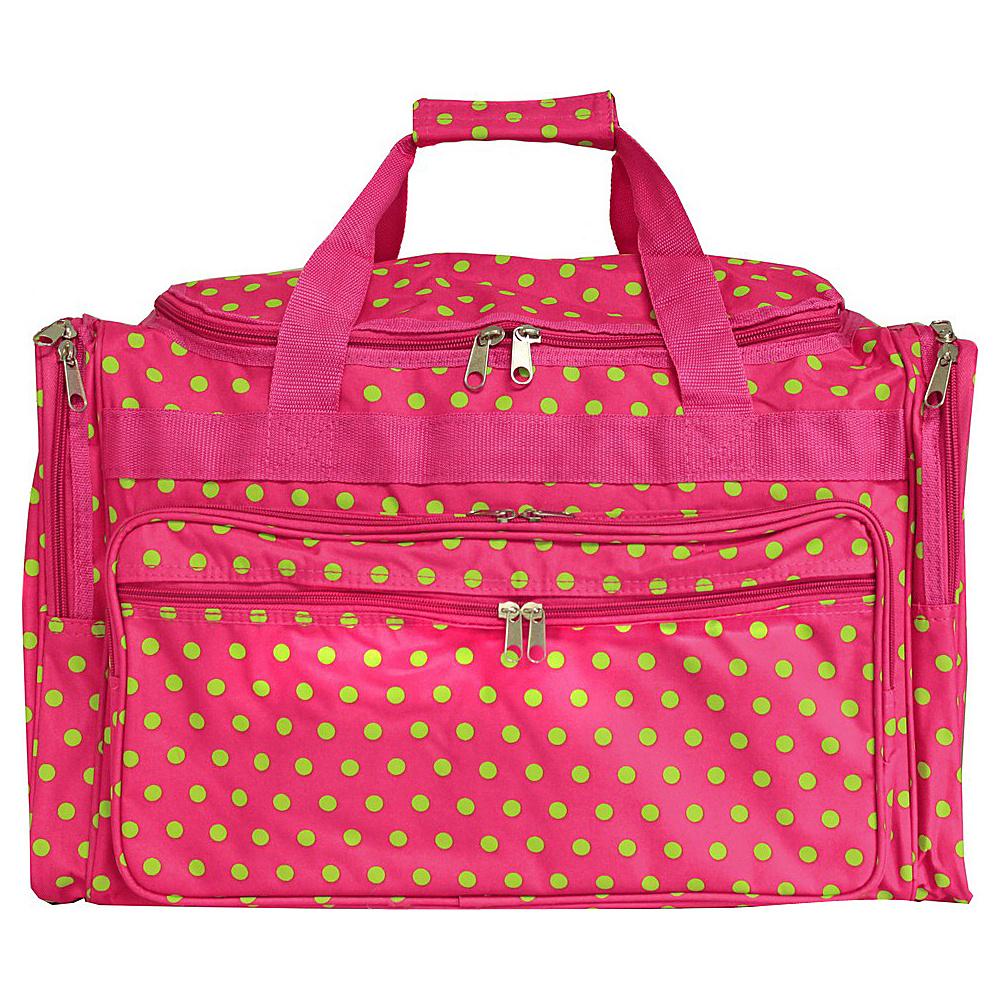 World Traveler Dots 22 Travel Duffle Bag Fuchsia Lime Dot - World Traveler Rolling Duffels - Luggage, Rolling Duffels