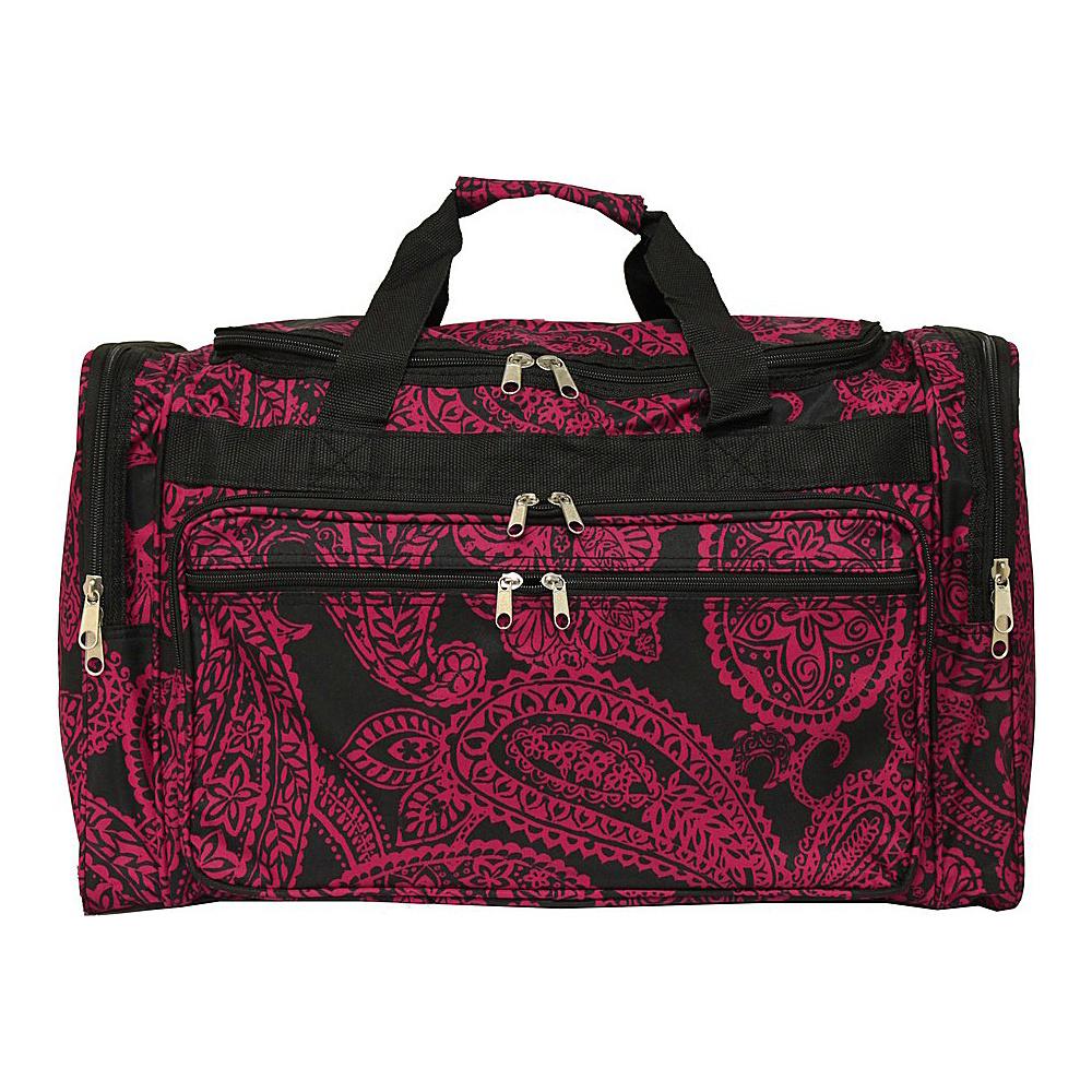 World Traveler Paisley 22 Travel Duffle Bag Black Pink Paisley - World Traveler Rolling Duffels - Luggage, Rolling Duffels