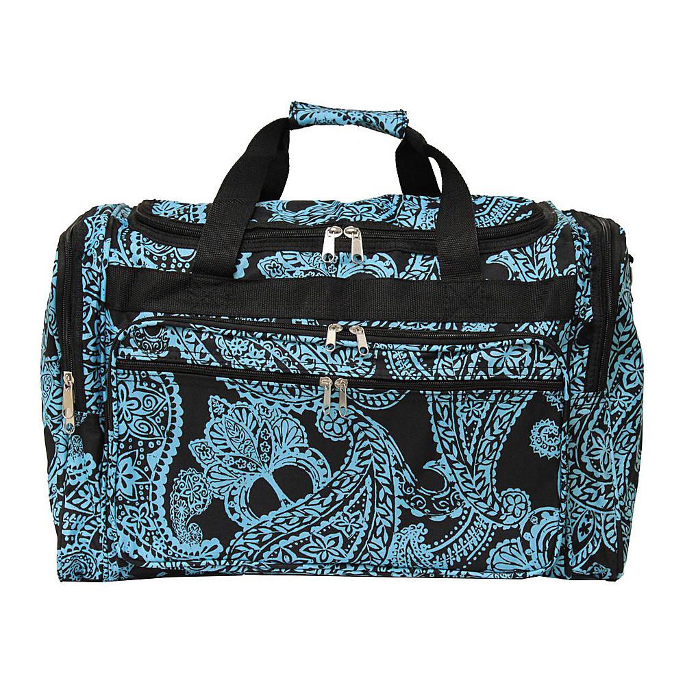 World Traveler Paisley 22 Travel Duffle Bag Black Blue Paisley - World Traveler Rolling Duffels - Luggage, Rolling Duffels