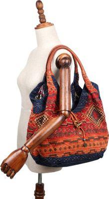 TSD Tribal Secret Hobo Orange/Navy - TSD Fabric Handbags