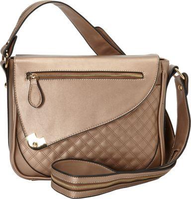 Hang Accessories Metallic Tablet Crossbody Bag Champagne - Hang Accessories Manmade Handbags