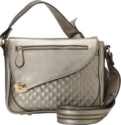 Hang Accessories Metallic Tablet Crossbody Bag Gunmetal - Hang Accessories Manmade Handbags