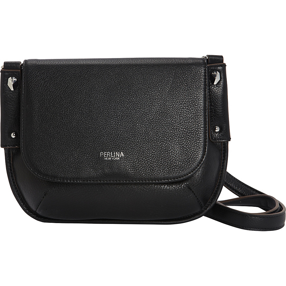 Perlina Flurry Flap Saddle Crossbody Black Leather Handbags