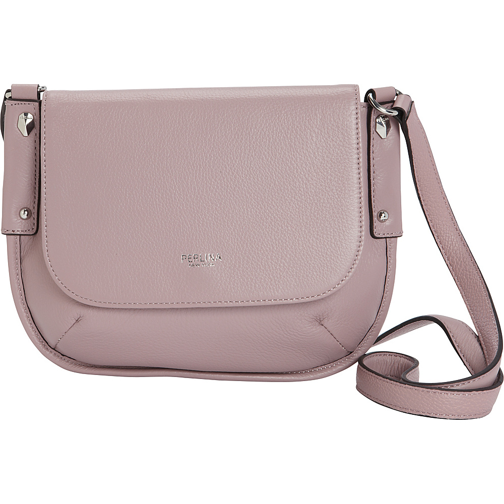 Perlina Flurry Flap Saddle Crossbody Lilac - Perlina Leather Handbags
