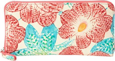 R & R Collections Printed Leather Zip Around Wallet Flower Print Beige - R & R Collections Women's Wallets