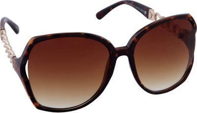 Laundry by Shelli Segal Sunglasses Oversized Glam with Chain Detail Sunglasses Brown/Animal - Laundry by Shelli Segal Sunglasses Sunglasses