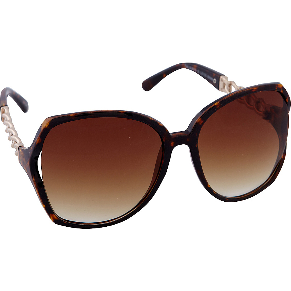 Laundry by Shelli Segal Sunglasses Oversized Glam with Chain Detail Sunglasses Brown / Animal - Laundry by Shelli Segal Sunglasses Sunglasses