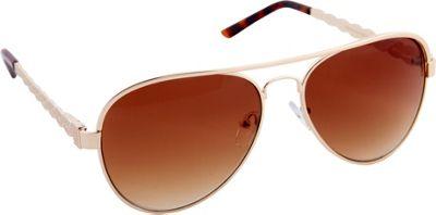 Nanette Nanette Lepore Sunglasses Textured Aviator Sunglasses Gold/Brown - Nanette Nanette Lepore Sunglasses Sunglasses