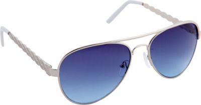 Nanette Nanette Lepore Sunglasses Textured Aviator Sunglasses Silver/White - Nanette Nanette Lepore Sunglasses Sunglasses