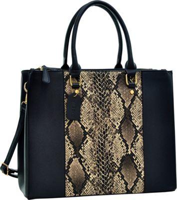 Dasein 3 Compartment Large Classic Tote Snake Print/ Black - Dasein Manmade Handbags