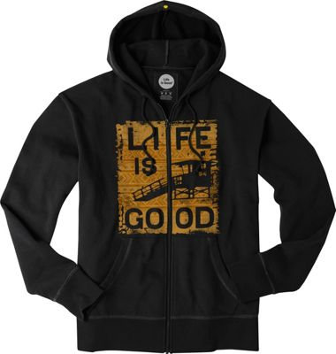 Life is good Mens Go To Zip Hoodie Night Black/Lifeguard - Extra Large - Life is good Men's Apparel