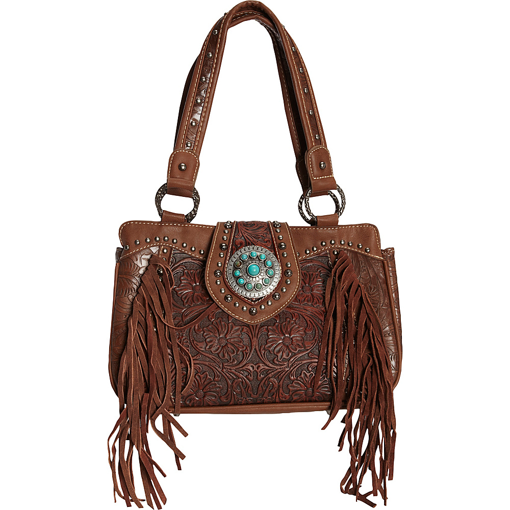 Trinity Ranch Tooled Tote Brown - Trinity Ranch Manmade Handbags