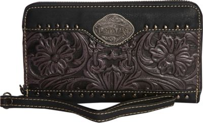 Trinity Ranch Women's Tooled Wallet Black/Grey - Trinity Ranch Women's Wallets
