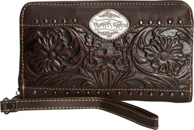 Trinity Ranch Women's Tooled Wallet Coffee - Trinity Ranch Women's Wallets