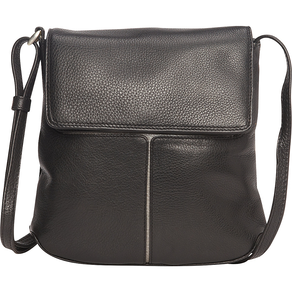 Derek Alexander Small 1/4 Flap Crossbody Black/Silver - Derek Alexander Leather Handbags - Handbags, Leather Handbags