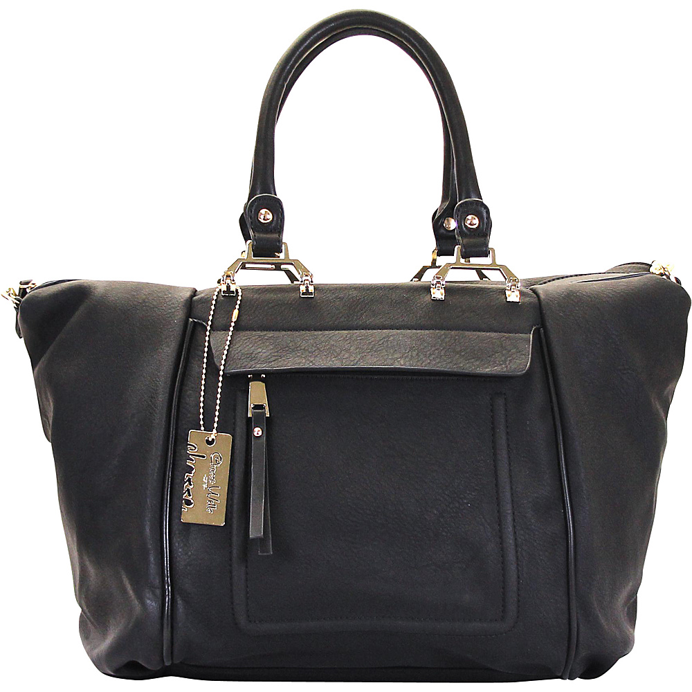 Chasse Wells Bonston Pont Satchel Tote Black Chasse Wells Manmade Handbags
