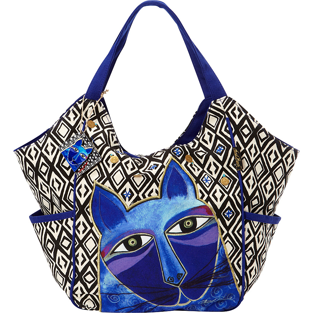 Laurel Burch Whiskered Cats Tote Blue Laurel Burch Fabric Handbags