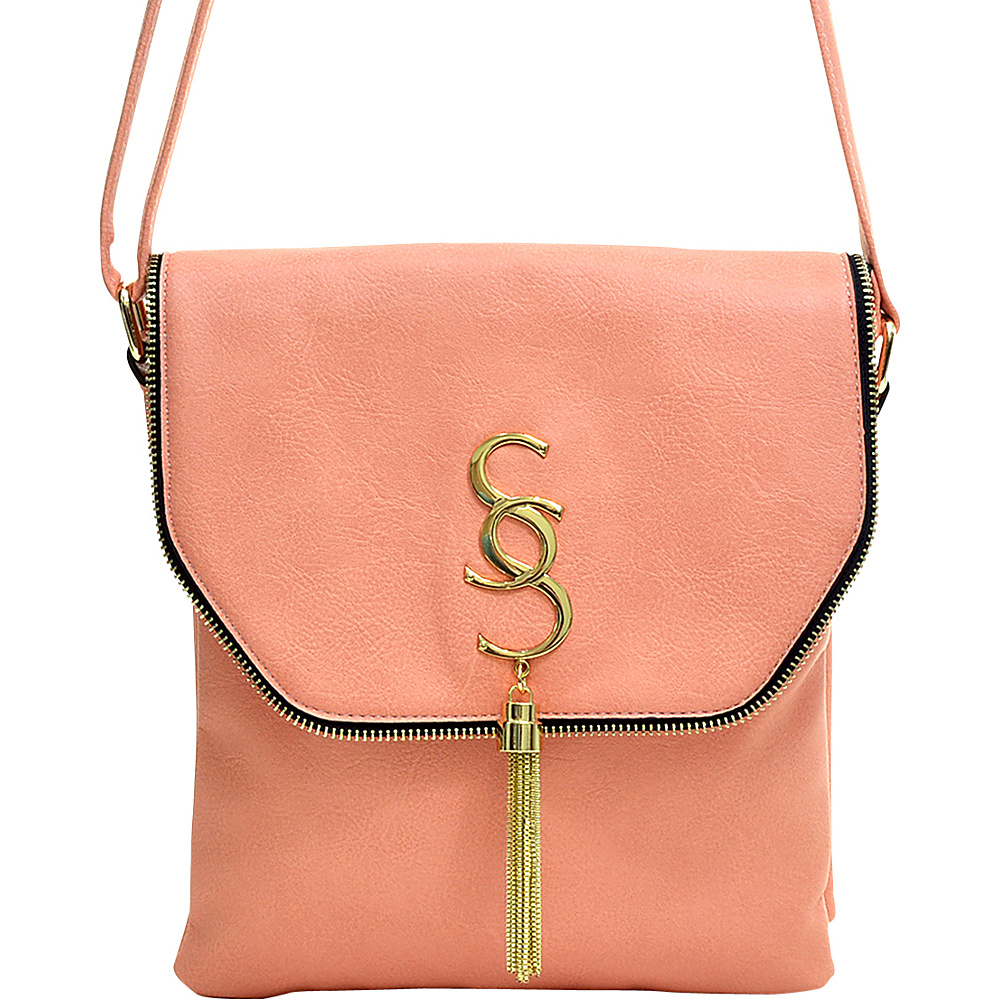 Dasein Double Pocket Tassel Messenger Bag Light Pink - Dasein Manmade Handbags - Handbags, Manmade Handbags