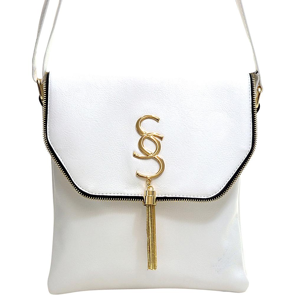 Dasein Double Pocket Tassel Messenger Bag White Dasein Manmade Handbags
