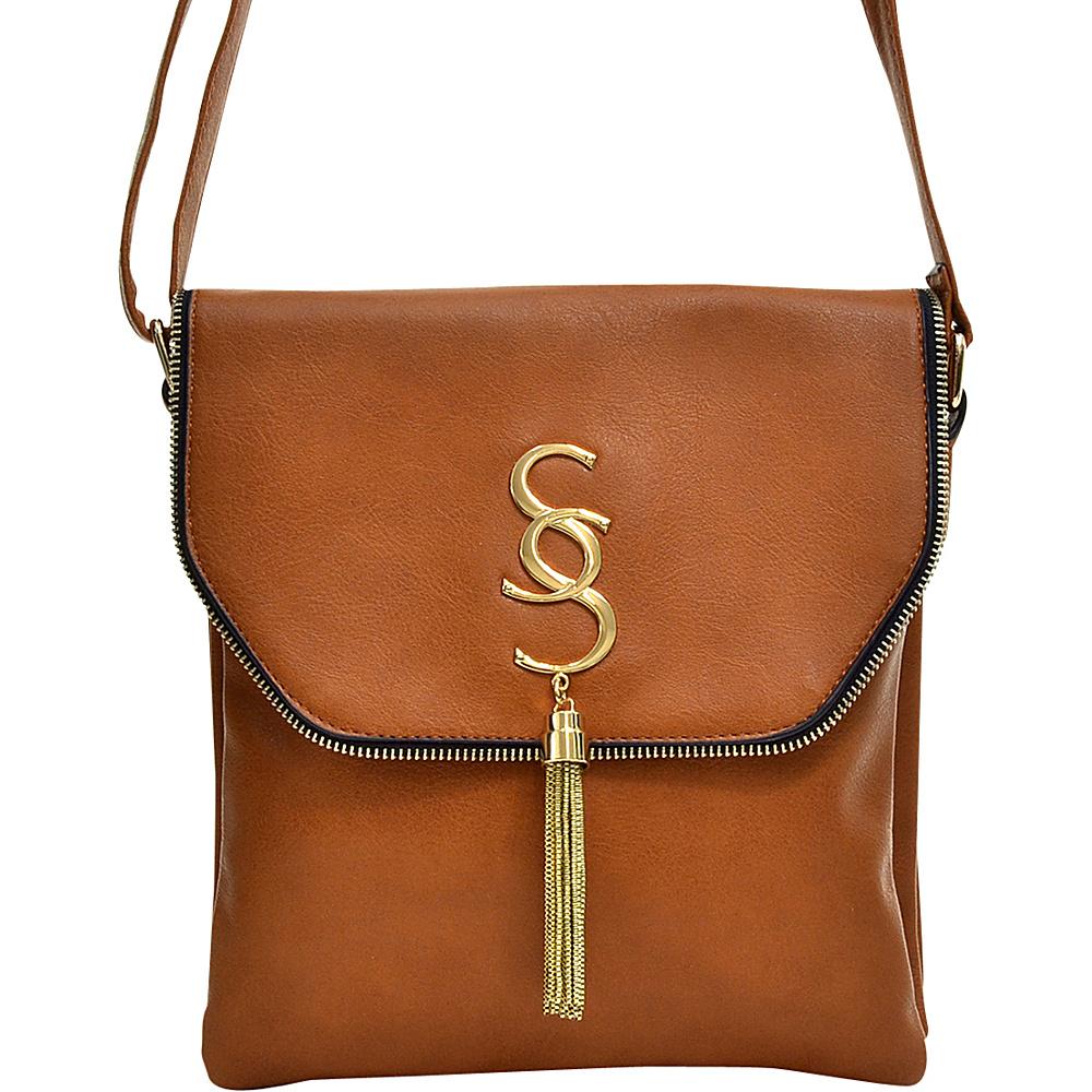 Dasein Double Pocket Tassel Messenger Bag Brown Dasein Manmade Handbags