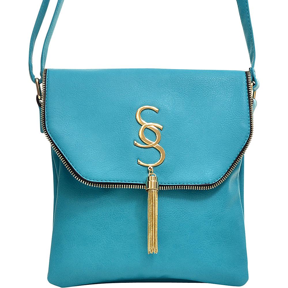 Dasein Double Pocket Tassel Messenger Bag Blue Dasein Manmade Handbags