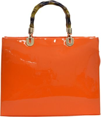 Dasein Wooden Handle Patent Leather Satchel Orange - Dasein Manmade Handbags
