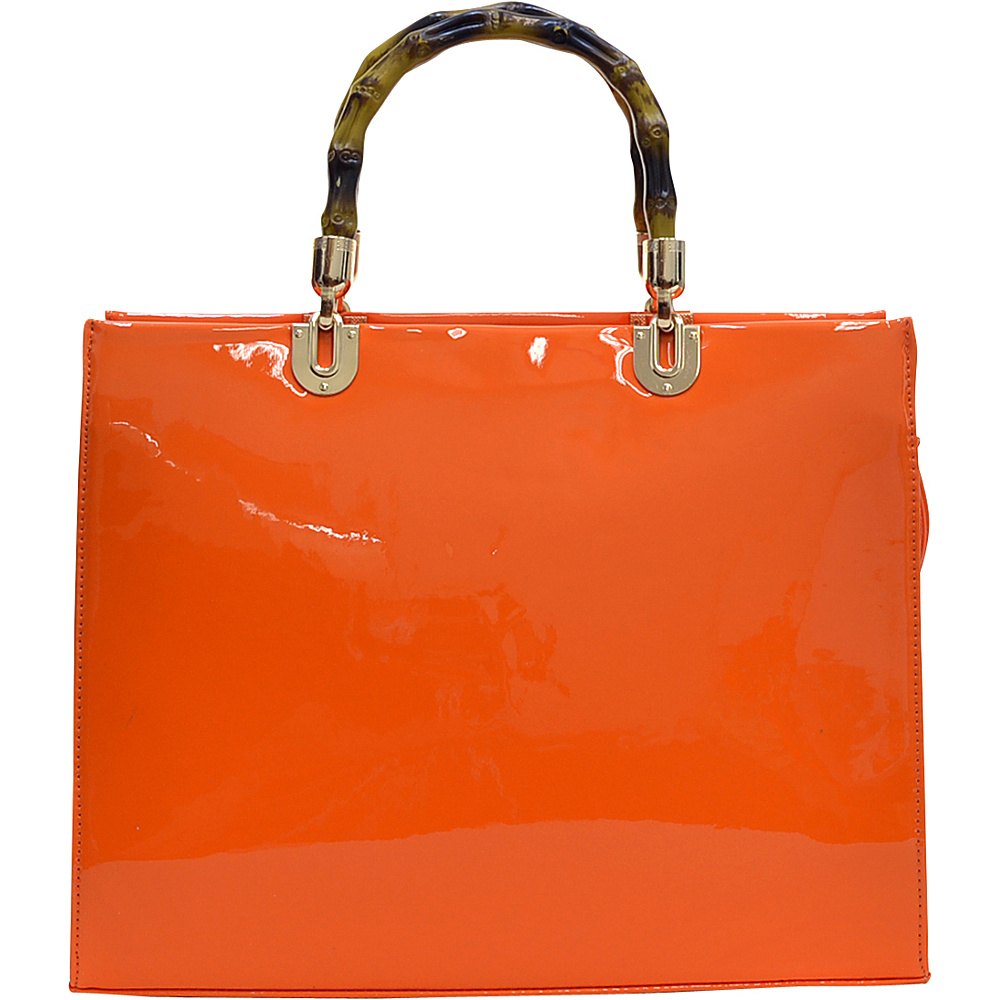 Dasein Wooden Handle Patent Leather Satchel Orange - Dasein Manmade Handbags - Handbags, Manmade Handbags