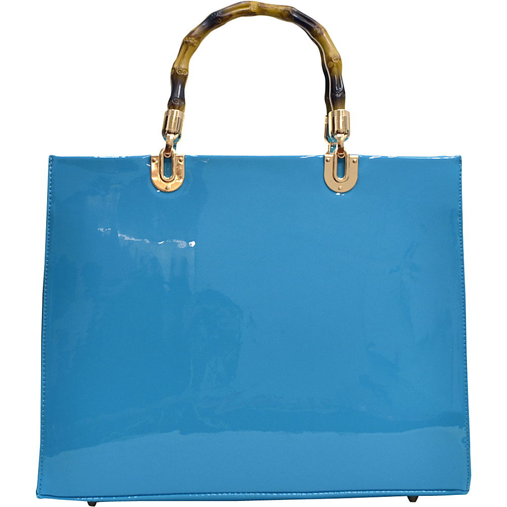 Dasein Wooden Handle Patent Leather Satchel Blue - Dasein Manmade Handbags - Handbags, Manmade Handbags