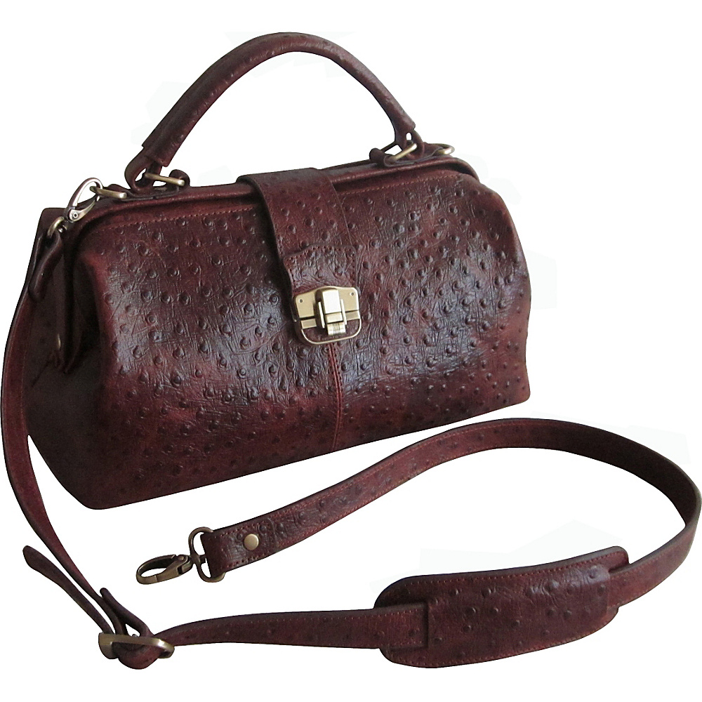 AmeriLeather Hillary Classic Hobo Brown Ostrich Print - AmeriLeather Leather Handbags - Handbags, Leather Handbags