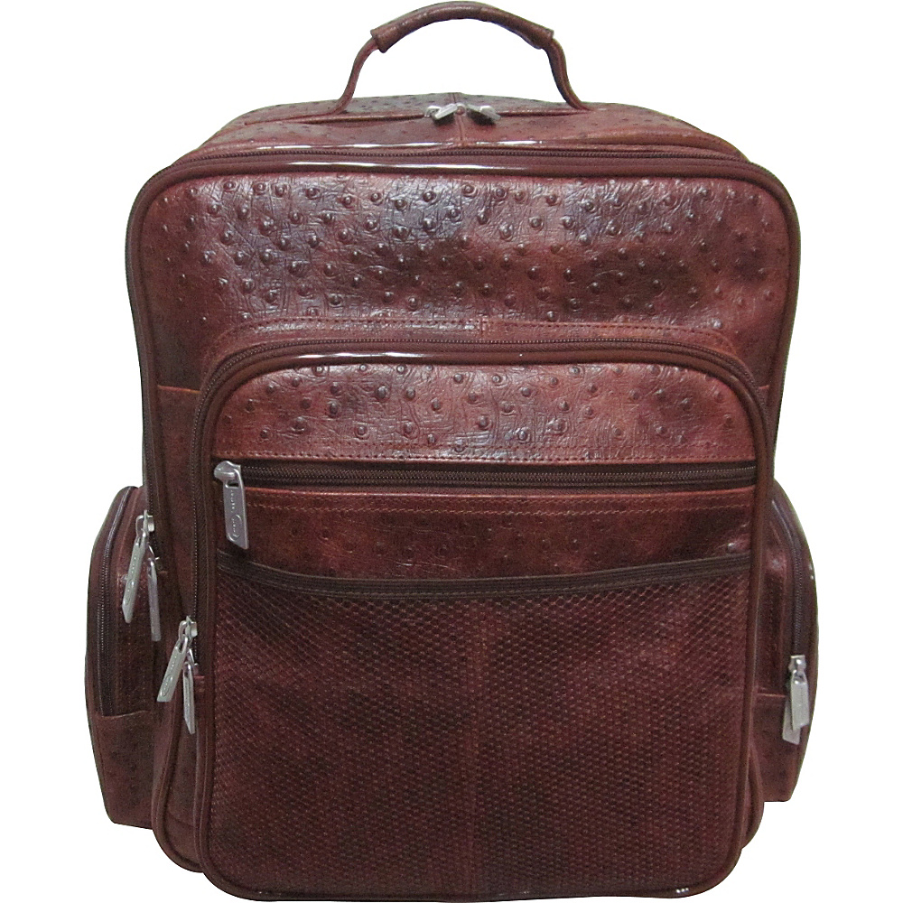 AmeriLeather CEO Leather Backpack Brown Ostrich Print - AmeriLeather Business & Laptop Backpacks - Backpacks, Business & Laptop Backpacks