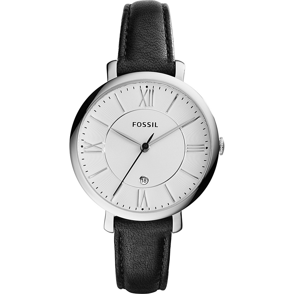 Fossil Jacqueline Three-Hand Date Leather Watch Black - Fossil Watches - Fashion Accessories, Watches