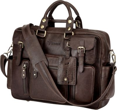 Vicenzo Leather Vicenzo Signature Full Grain Leather Briefcase Dark Brown - Vicenzo Leather Non-Wheeled Business Cases