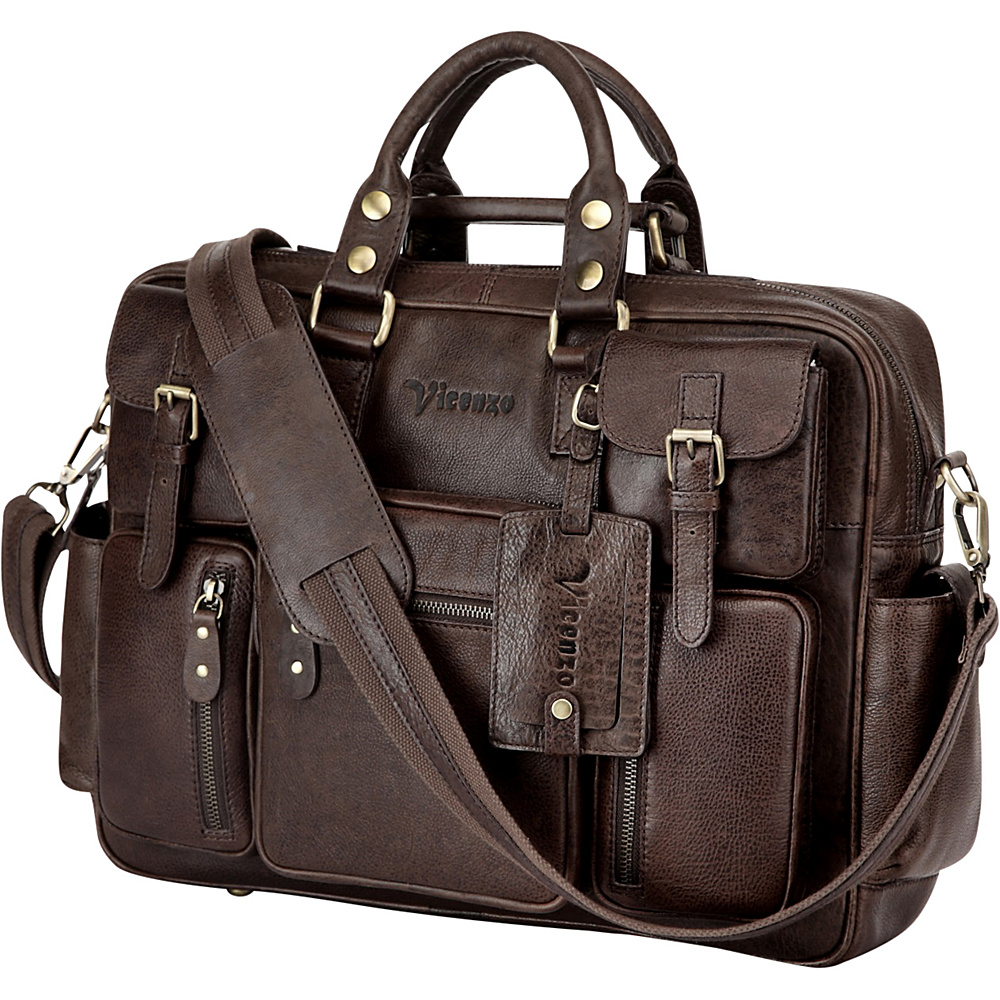 Vicenzo Leather Vicenzo Signature Full Grain Leather Briefcase Dark Brown Vicenzo Leather Non Wheeled Business Cases