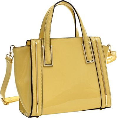 Dasein Patent Leather Winged Tote Satchel Yellow - Dasein Manmade Handbags