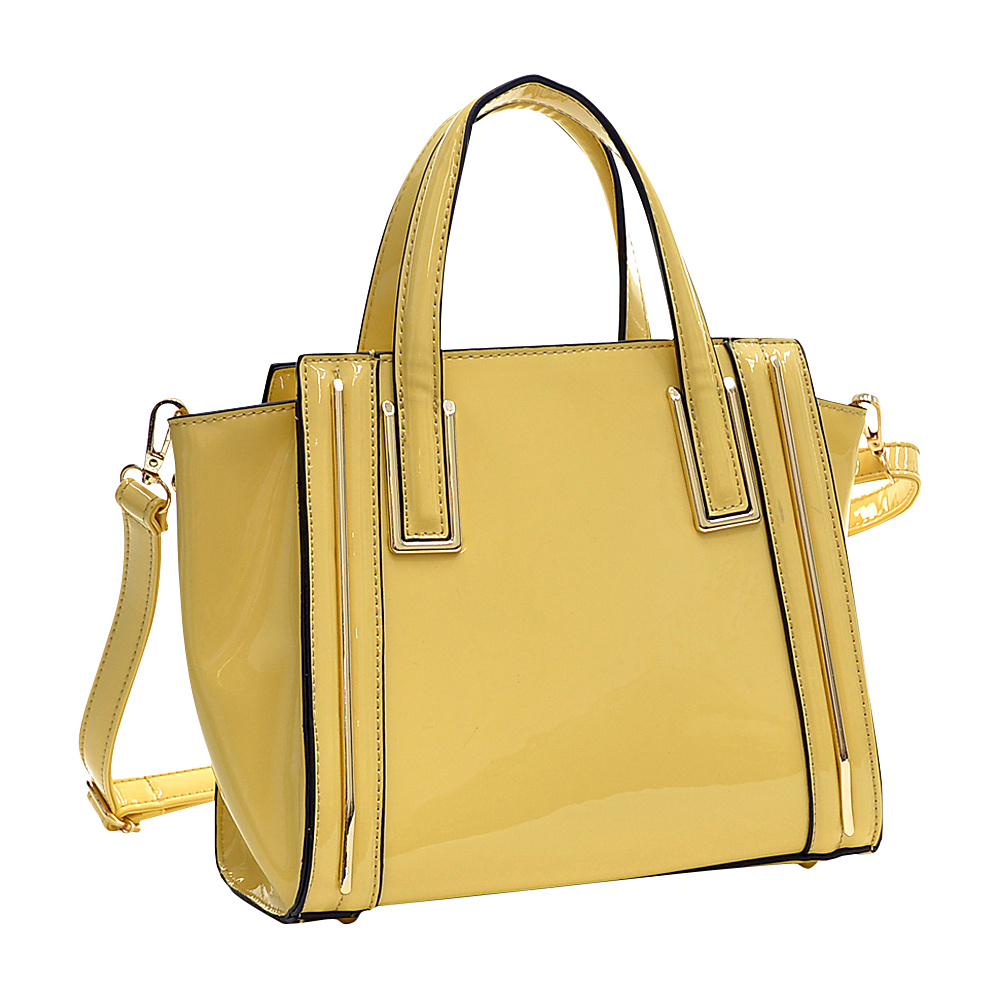 Dasein Patent Leather Winged Tote Satchel Yellow - Dasein Manmade Handbags - Handbags, Manmade Handbags