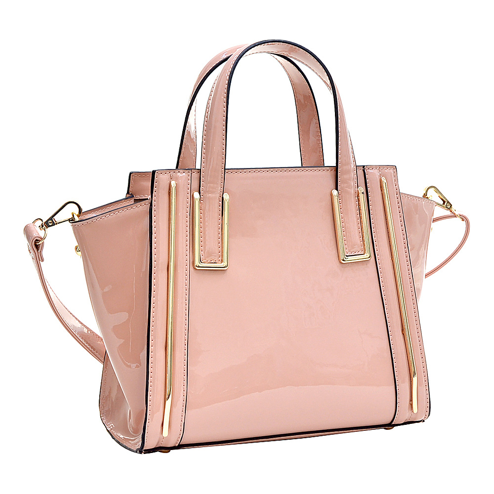 Dasein Patent Leather Winged Tote Satchel Pink - Dasein Manmade Handbags - Handbags, Manmade Handbags