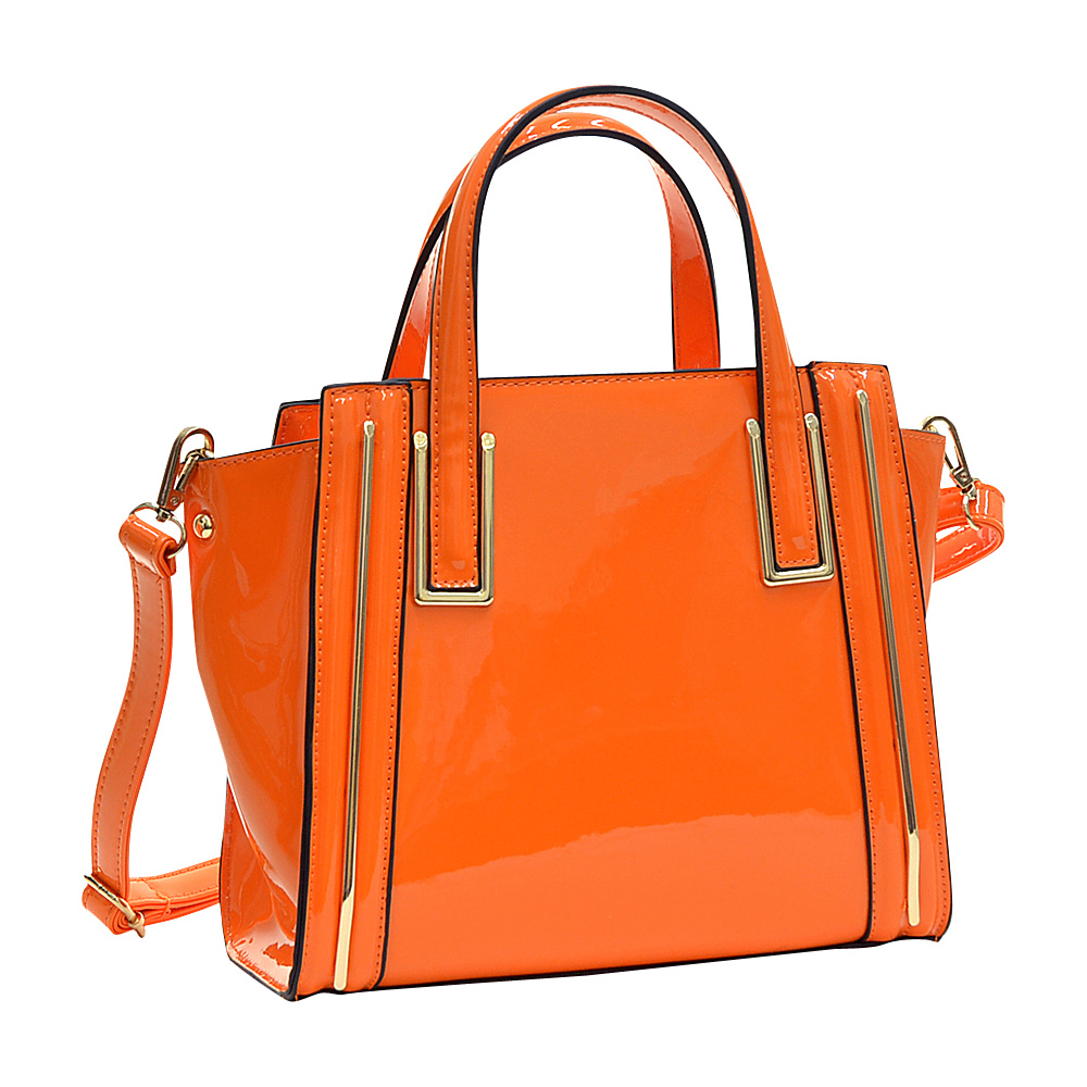 Dasein Patent Leather Winged Tote Satchel Orange - Dasein Manmade Handbags - Handbags, Manmade Handbags