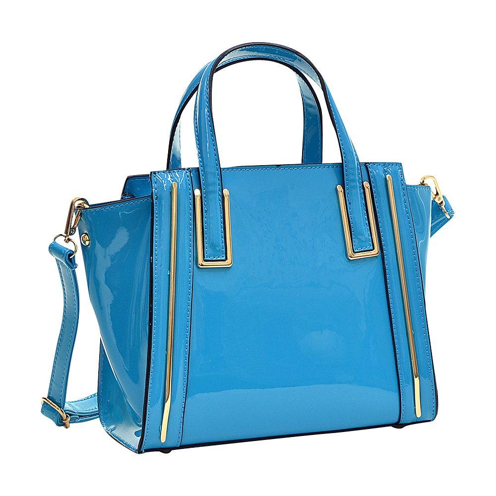 Dasein Patent Leather Winged Tote Satchel Blue - Dasein Manmade Handbags - Handbags, Manmade Handbags
