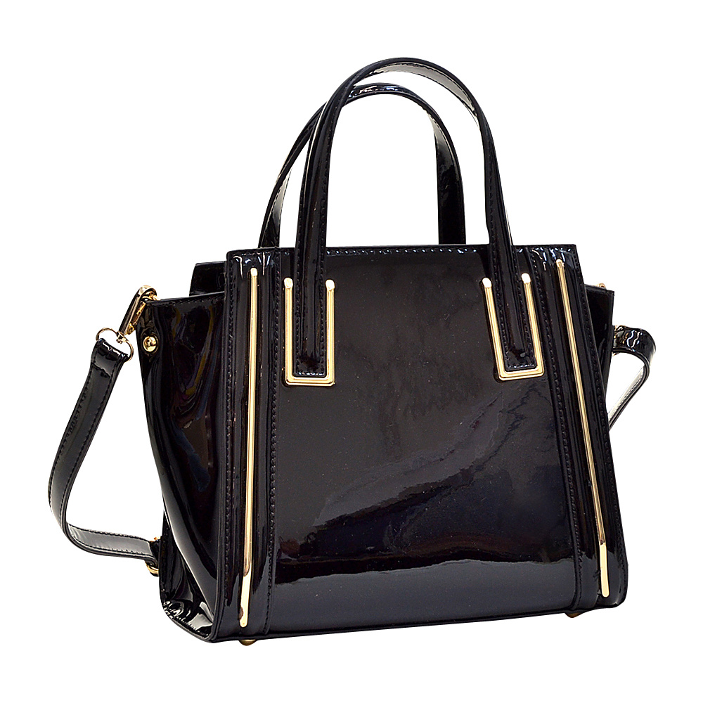 Dasein Patent Leather Winged Tote Satchel Black - Dasein Manmade Handbags - Handbags, Manmade Handbags