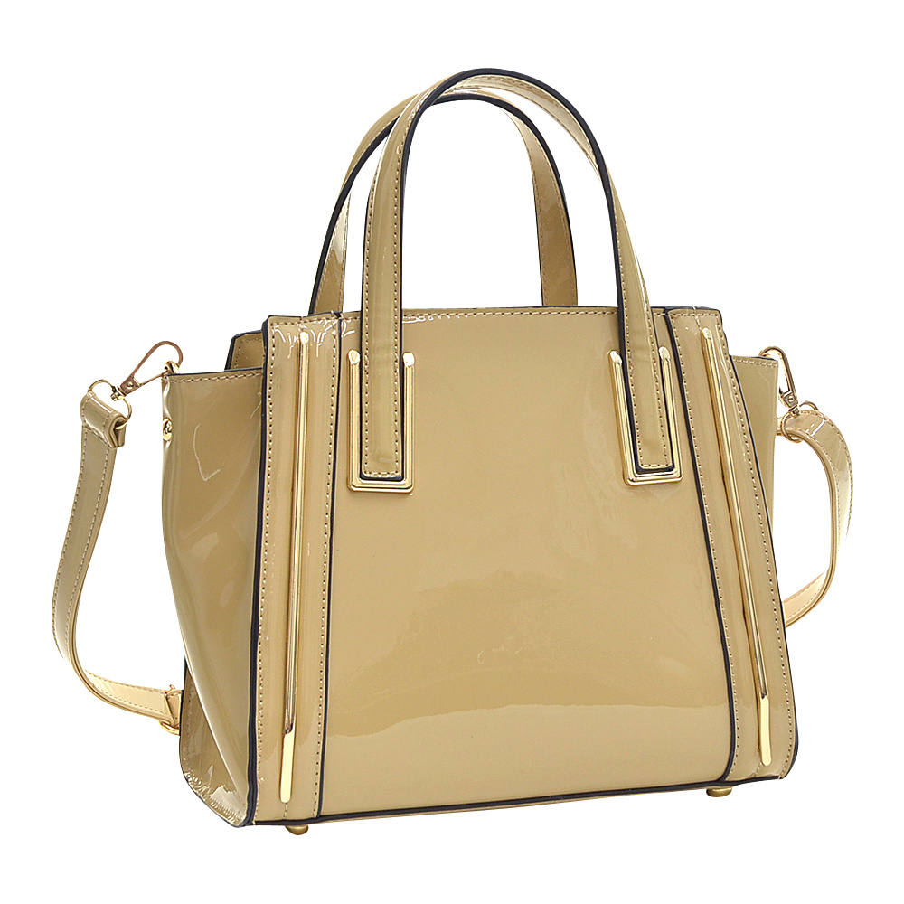 Dasein Patent Leather Winged Tote Satchel Beige - Dasein Manmade Handbags - Handbags, Manmade Handbags