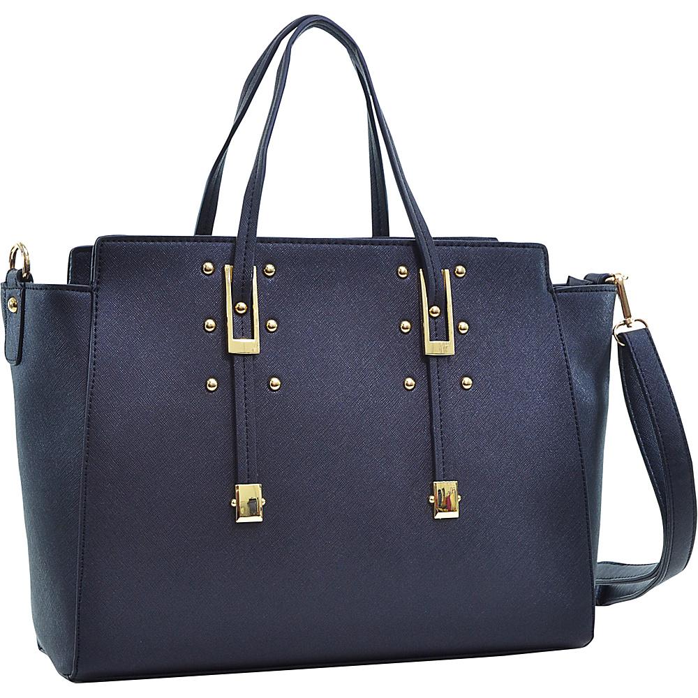 Dasein Elegant Buckle Strap Satchel Black - Dasein Manmade Handbags - Handbags, Manmade Handbags