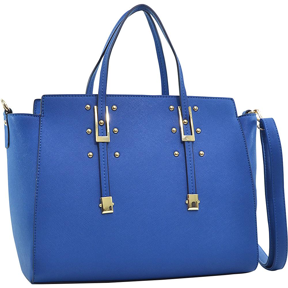 Dasein Elegant Buckle Strap Satchel Blue - Dasein Manmade Handbags - Handbags, Manmade Handbags