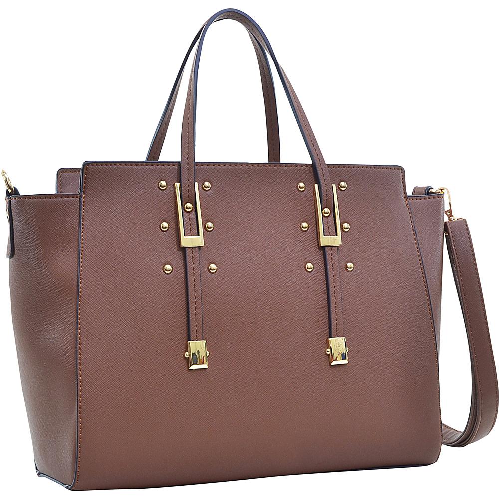 Dasein Elegant Buckle Strap Satchel Coffee - Dasein Manmade Handbags - Handbags, Manmade Handbags