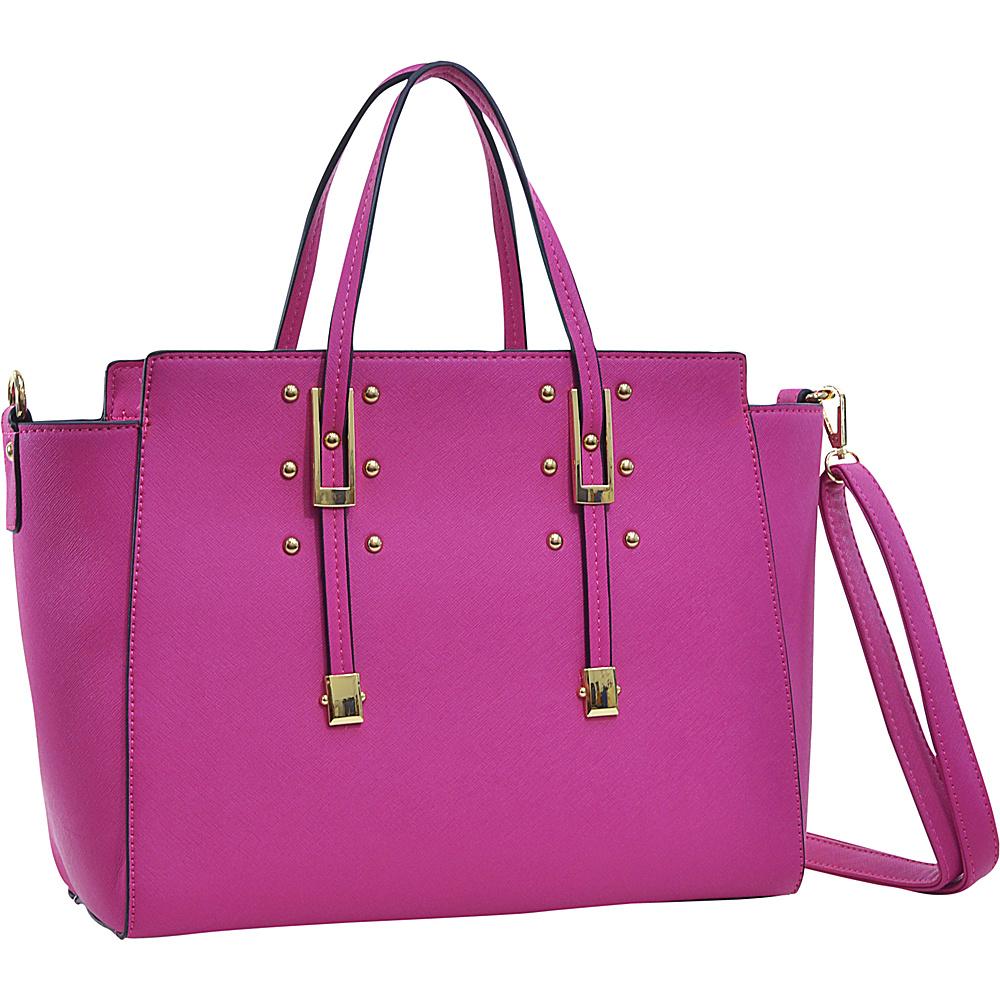 Dasein Elegant Buckle Strap Satchel Fuchsia - Dasein Manmade Handbags - Handbags, Manmade Handbags
