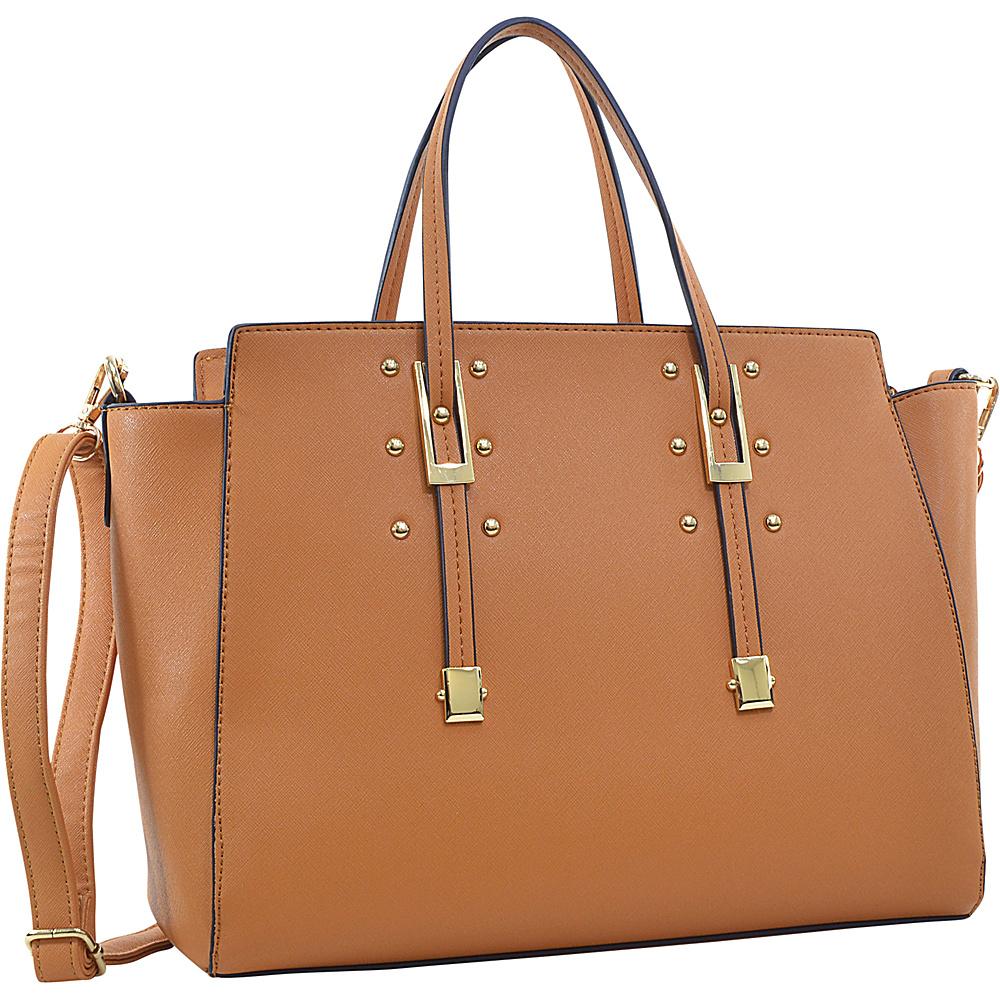 Dasein Elegant Buckle Strap Satchel Tan - Dasein Manmade Handbags - Handbags, Manmade Handbags