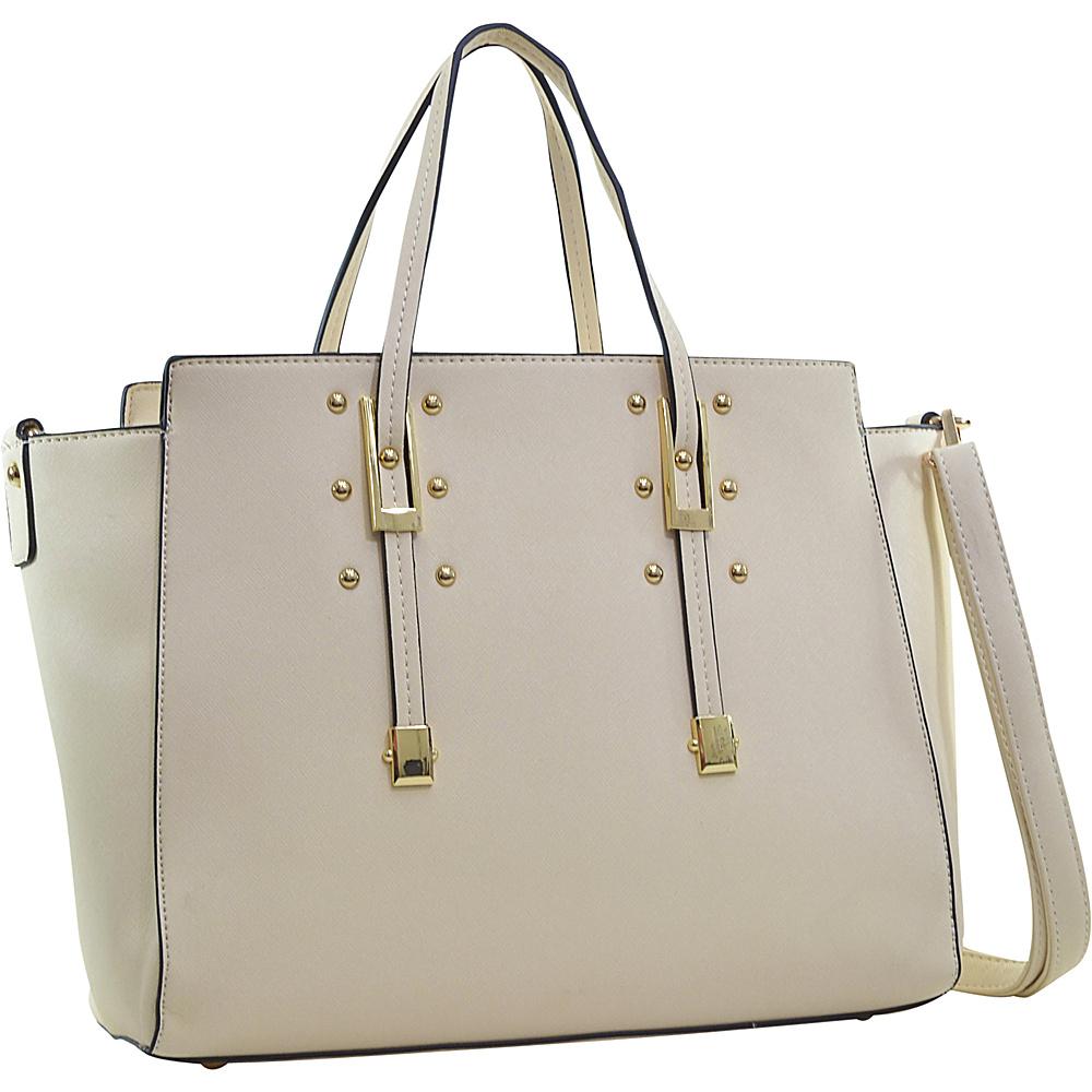 Dasein Elegant Buckle Strap Satchel Beige - Dasein Manmade Handbags - Handbags, Manmade Handbags