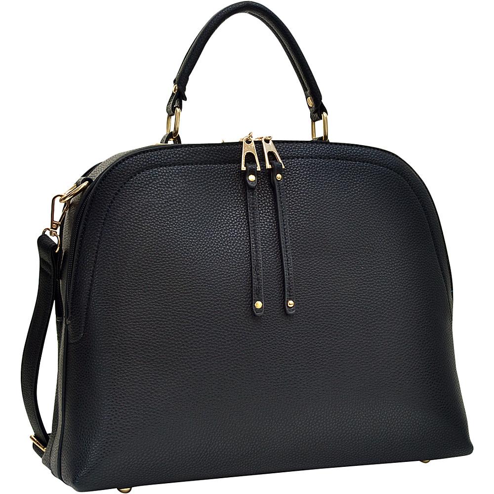 Dasein Buffalo Faux Leather Dome Satchel Black - Dasein Manmade Handbags - Handbags, Manmade Handbags